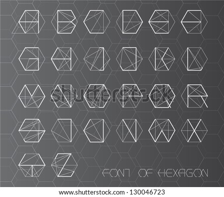 fonts of hexagon ( could separate with frame )sci-fi style - stock vector