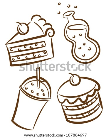 food and beverages icon in doodle style - stock vector