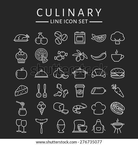 Food and cooking web icons. Set of white symbols for a culinary theme. Healthy and junk food, fruit and vegetables, seafood, spices, cooking utensils and more. Collection of line design elements. - stock vector