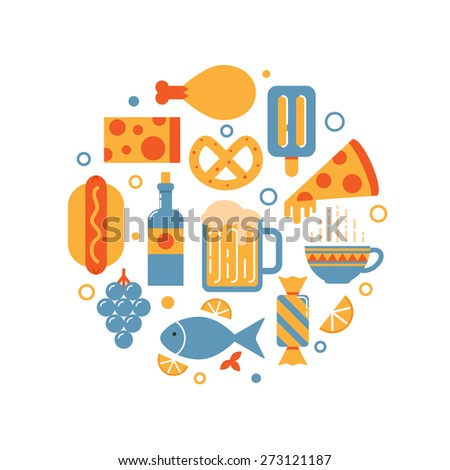 Food and drink abstract vector illustration - stock vector