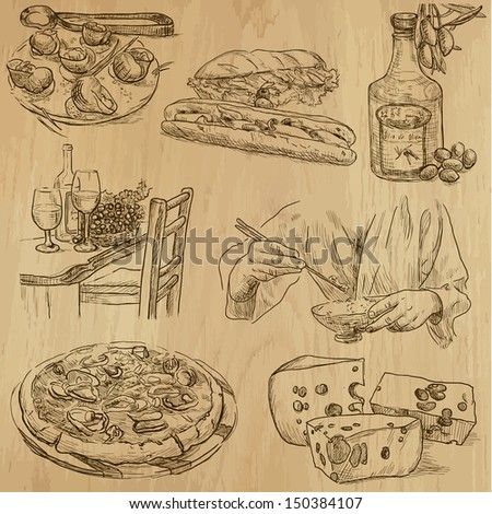 Food and drink around the World (part 2). Collection of hand drawn illustrations (originals, no tracing). Description: Each drawing comprise of two layers of outlines, colored background is isolated. - stock vector