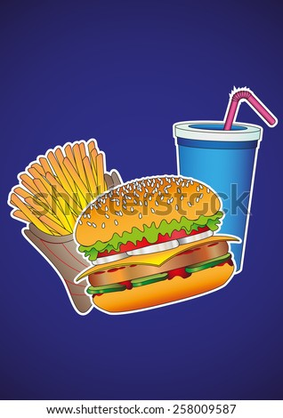Food and Drink. Fast food. Hamburger, french fries, drink. Design of vector illustrations. - stock vector