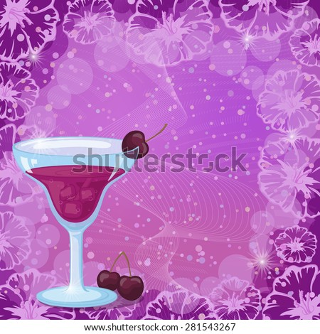 Food and Drink, Glass with a Juice Cocktail, Cherry and Ice on Abstract Background with a Pattern of Curves, Flowers and Circles. Eps10, Contains Transparencies. Vector - stock vector