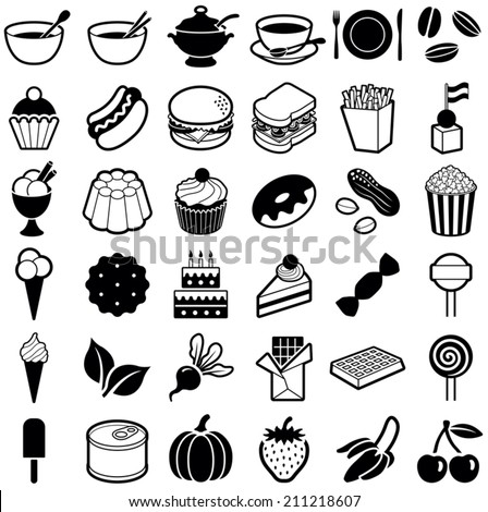 Food and Drink icon collection - vector illustration - stock vector