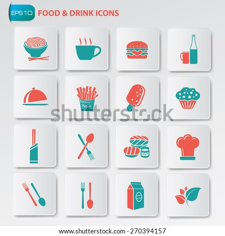 Food and drink icon set on clean buttons - stock vector