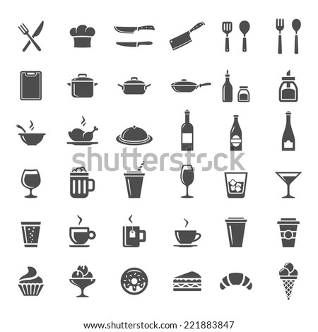 Food and drink icon set. 36 restaurant and cooking icons - stock vector