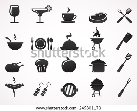 Food and drink icon set. Vector illustration. - stock vector