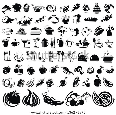 Food and drink icons set - stock vector