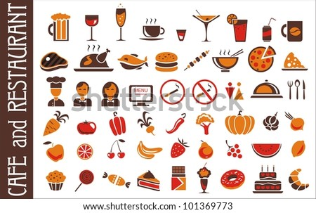 food and drink icons set for white background - stock vector