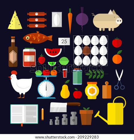 Food and drink icons.Set of flat fast food icons.Icons representing healthy, organic food.Vector illustration of healthy food concept.Vegetables, fruits, fish, tea, coffee, cheese. - stock vector