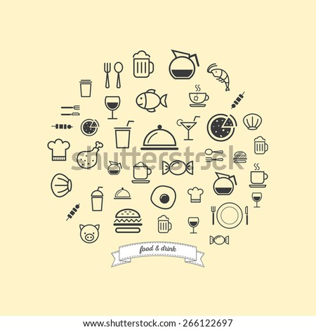 food and drink outline icon set - stock vector