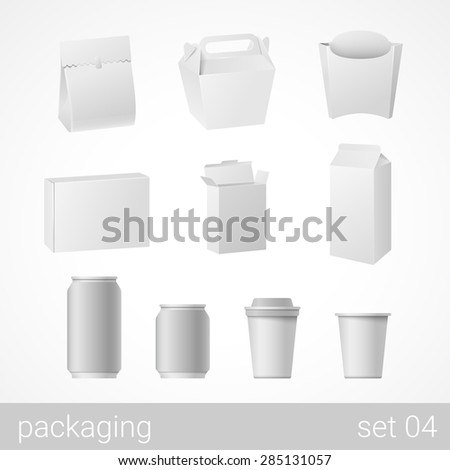 Food and drink plastic, metal, paper and carton cardboard package set. Blank white packaging objects isolated on white vector illustration. - stock vector
