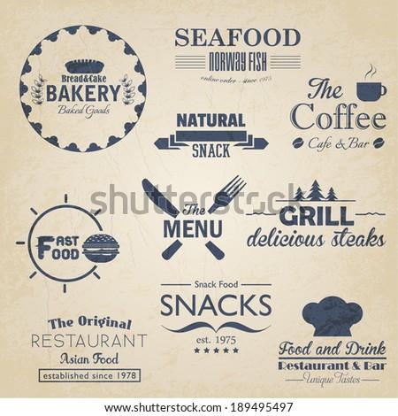 Food and Drink Restaurant Retro Tag, Sticker, Badges, Labels Vector Design Set on old paper - stock vector