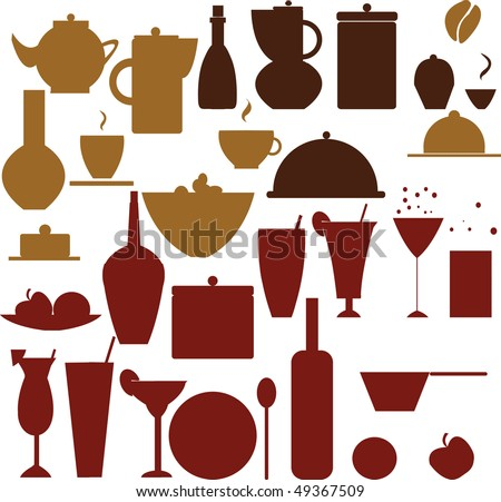 food and drink silhouettes - stock vector