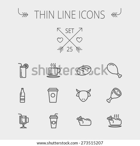 Food and drink thin line icon set for web and mobile. Set includes- coffee, soda, lime, juice, bread, poprk meat, chicken, cow, fried chicken icons. Modern minimalistic flat design. Vector dark grey - stock vector