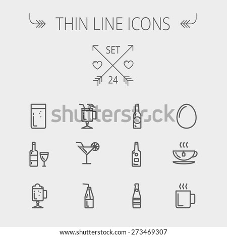 Food and drink thin line icon set for web and mobile. Set includes-soda, wine, whisky, coffee, hot choco, beer, ice tea, egg icons. Modern minimalistic flat design. Vector dark grey icon on light grey - stock vector