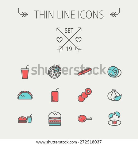Food and drink thin line icon set for web and mobile. Set includess- onion, egg, chicken, meal set, soda, burger, taco icons. Modern minimalistic flat design. Vector icon with dark grey outline and - stock vector