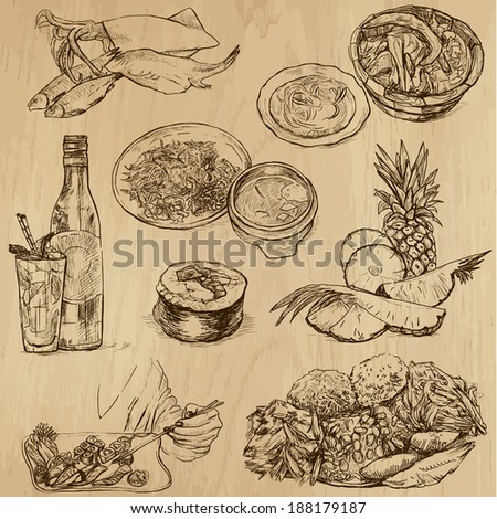 Food and Drinks around the World (set no. 9) - Collection of an hand drawn illustrations. Description: Each drawing comprise of two layer of outlines, colored background is isolated. - stock vector
