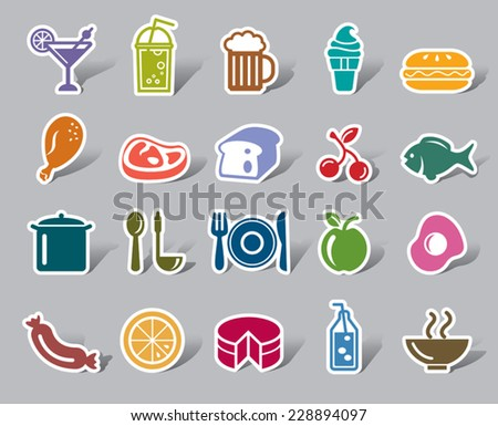 Food and Drinks Color Icon Label - stock vector