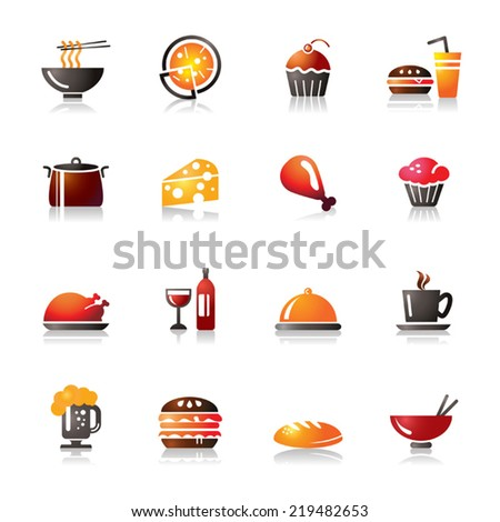 Food and Drinks Colorful Icons - stock vector