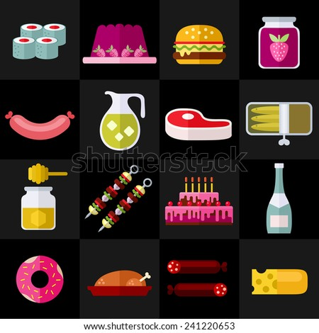 Food and drinks. Colorful modern vector flat icons set. Collection of elements and concepts for web and mobile apps. Vector file is EPS8. Each icon is grouped apart. - stock vector