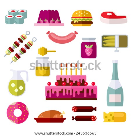 Food and drinks. Colorful modern vector flat icons set. Isolated objects. Collection of elements and concepts for web and mobile apps. Vector file is EPS8. Each icon is grouped apart. - stock vector