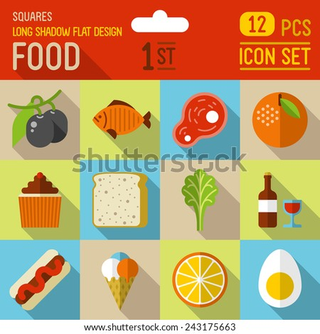 Food and drinks flat long shadow design square icon 2nd set. 12 pcs. Trendy vector illustrations. - stock vector