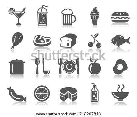 Food and Drinks Icons - stock vector