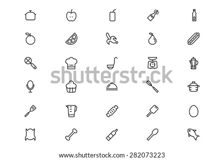 Food and Drinks Line Vector Icons 9 - stock vector