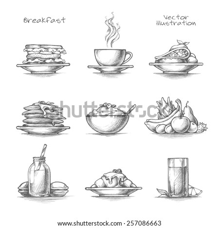 Food and drinks set. Breakfast icons. Pancakes, cereal, coffee, juice, croissant. Pencil sketch collection vector illustration - stock vector