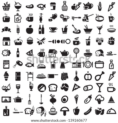 food and kitchen icons - stock vector