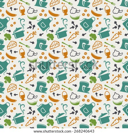 Food and kitchen seamless pattern in blue, orange, green and white colors. Retro background with cute icons for culinary theme. Vector illustration. - stock vector