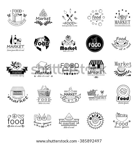 Food And Market Icons Set-Isolated On White Background:Vector Illustration,Graphic Design.For Web,Websites,Print,Presentation Templates,Mobile Applications And Promotional Materials.Shopping Tag - stock vector