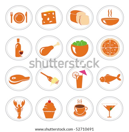 Food and meal icons vector collection - stock vector