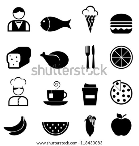 Food and restaurant icon set - stock vector