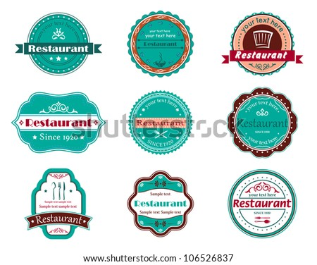Food and restaurant labels set for design. Jpeg version also available in gallery - stock vector