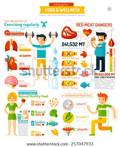 Food And wellness Infographic chart. Bodybuilding, eating, fitness - stock vector