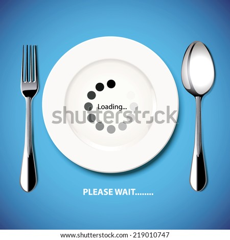 Food are late. Please wait. Vector. Illustration. - stock vector