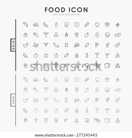 food bold and thin minimal line icons - stock vector