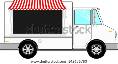 food bus with awning isolated on white background, copy space for your logo, text or message - stock vector