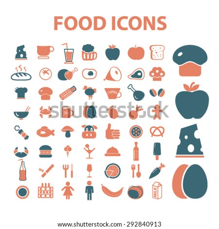 food, cafe, restaurant isolated vector icons - stock vector