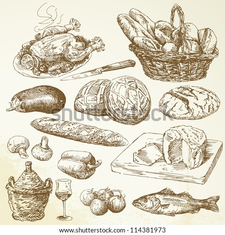food collection - hand drawn set - stock vector