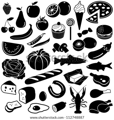 Food collection - vector silhouette - stock vector