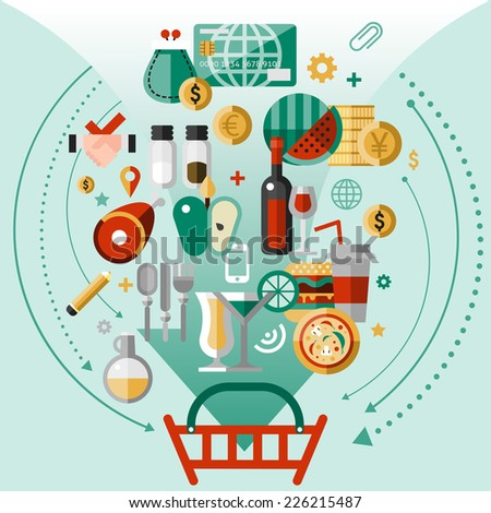 Food concept with kitchen and cooking decorative icons and shopping basket vector illustration - stock vector