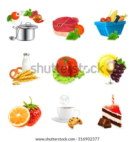 Food concepts, isolated vector set - stock vector