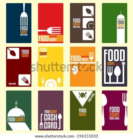 Food court cash card. Menu card. Vector illustration - stock vector