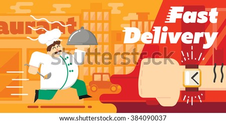 Food delivery concept design. Food delivery banner. Cook food delivers. Food delivery service. Food delivery man. Vector food delivery symbol. Courier of food delivery. Cute cook and delivery concept. - stock vector