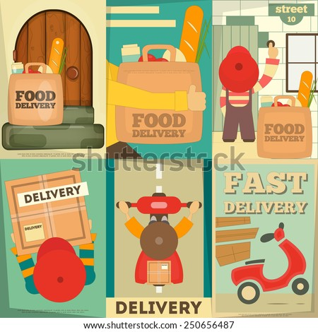 Food Delivery. Posters Set. Flat Character Design. Vector Illustration. - stock vector