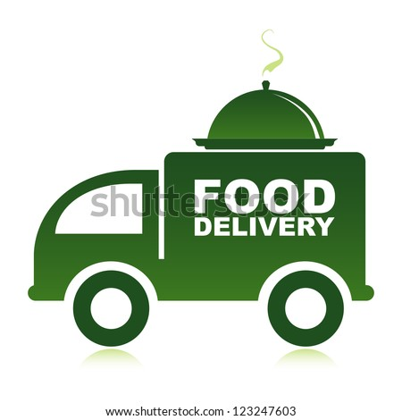 Food delivery van with platter. - stock vector