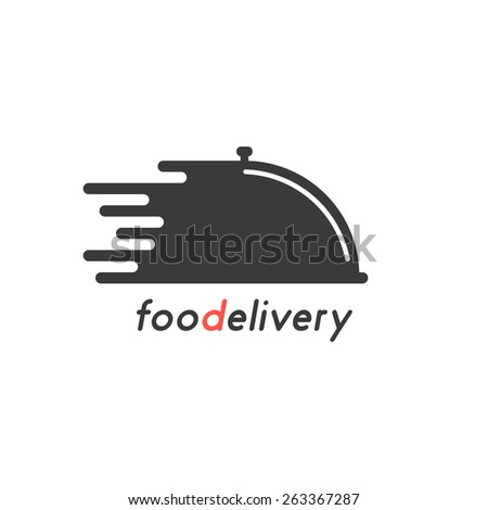 food delivery with black dish. concept of on-line supermarket, maintenance catering, transportation, tray, chef. isolated on white background. flat style trendy modern brand design vector illustration - stock vector